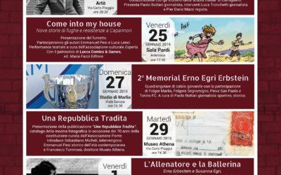 """Giornata della memoria 2019:tra gli eventi in programma il """"2°Memorial Erno Egri Erbstein"""" e la presentazione del fumetto """"Come into my house""""."""