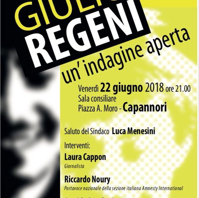 Venerdì 22 giugno a Capannori iniziativa sul caso Regeni