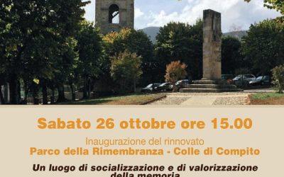 Sabato 26 ottobre l'inaugurazione del rinnovato Parco della Rimembranza di Colle di Compito